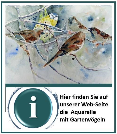 Aquarelle mit Gartenvögeln