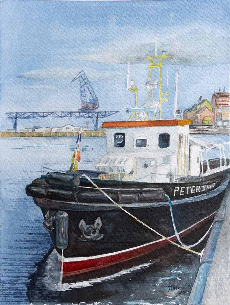Der Schlepper Petersdorf im Stadthafen Rostock © Aquarell von Frank Koebsch