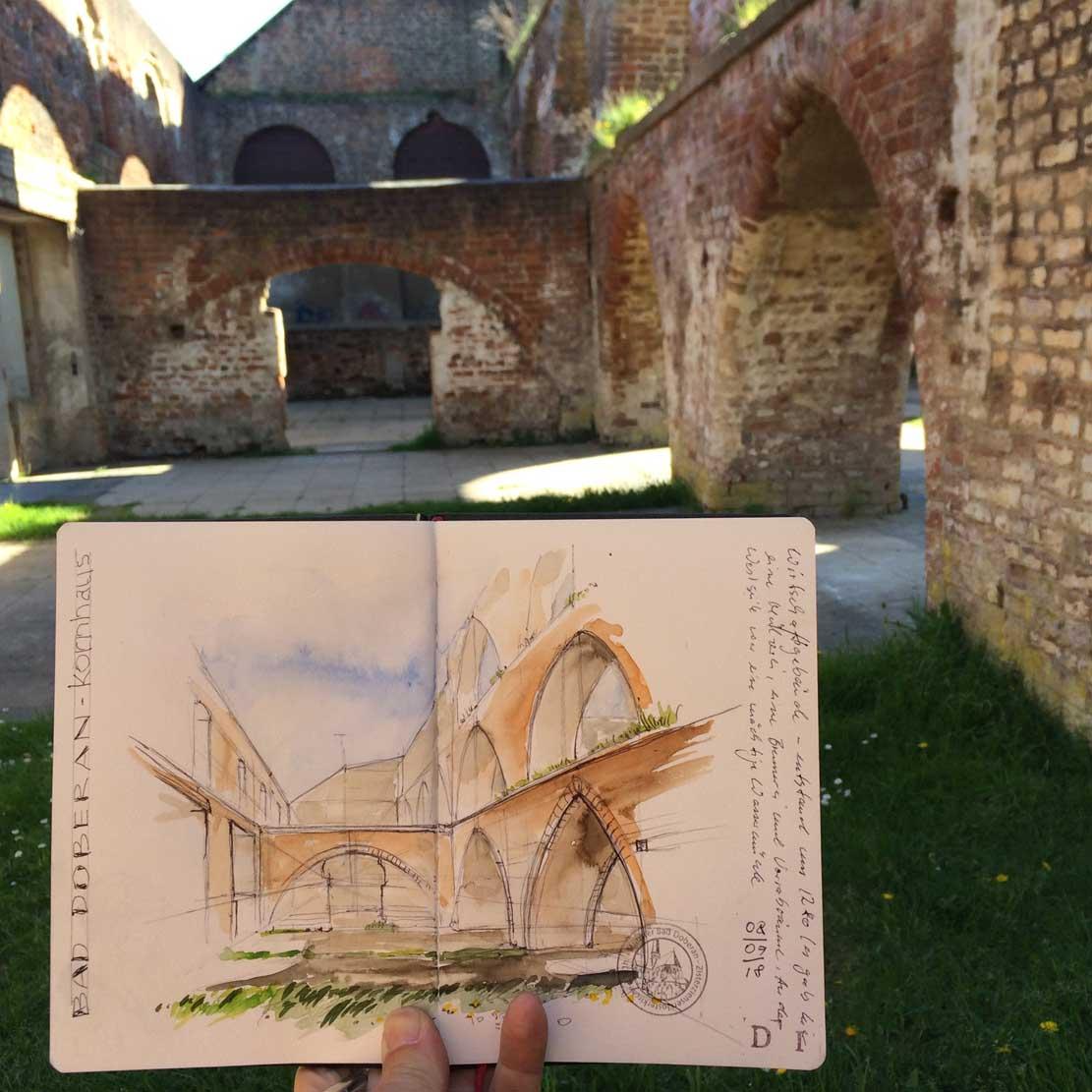 Klosterruine Bad Doberan - urban sketching Jens Hübner