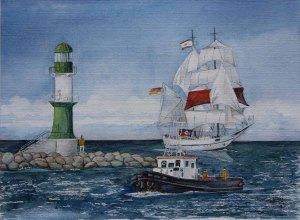 Rückkehr von der Ausfahrt auf der Hanse Sail © Aquarell von Frank Koebsch