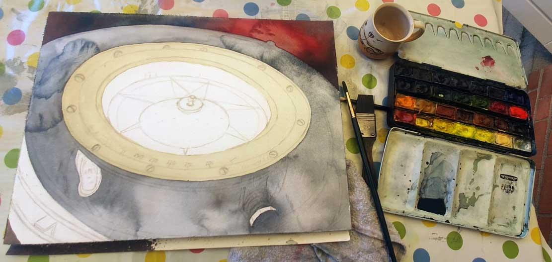 Die ersten Lasuren für Aquarell mit einem Kompass (c) Frank Koebsch (1)