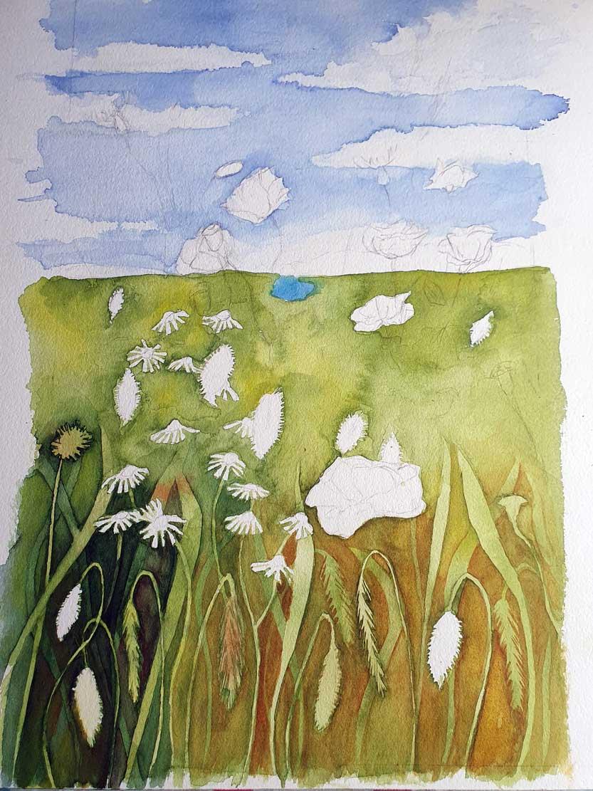 Durch Lasuren in verschiedenen Farbtönen entsteht eine Sommerwiese (c) Frank Koebsch (4)