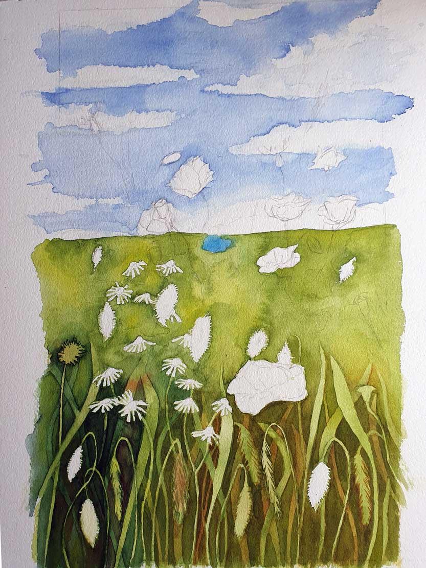 Durch Lasuren in verschiedenen Farbtönen entsteht eine Sommerwiese (c) Frank Koebsch (5)