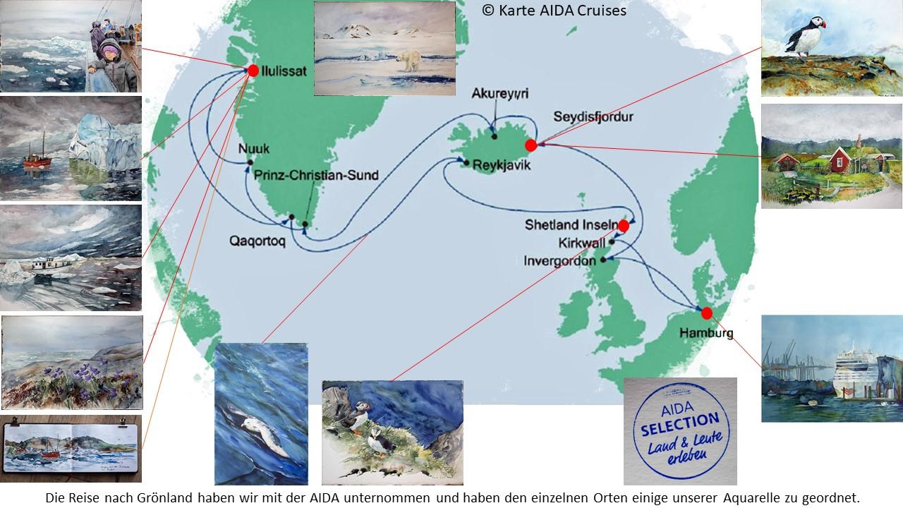Karte der Kreuzfahrt Grönland – Island mit der AIDAcara, Grönland – Lerwick - Shetlandinseln – Karte AIDA Cruises – Aquarelle Hanka & Frank Koebsch
