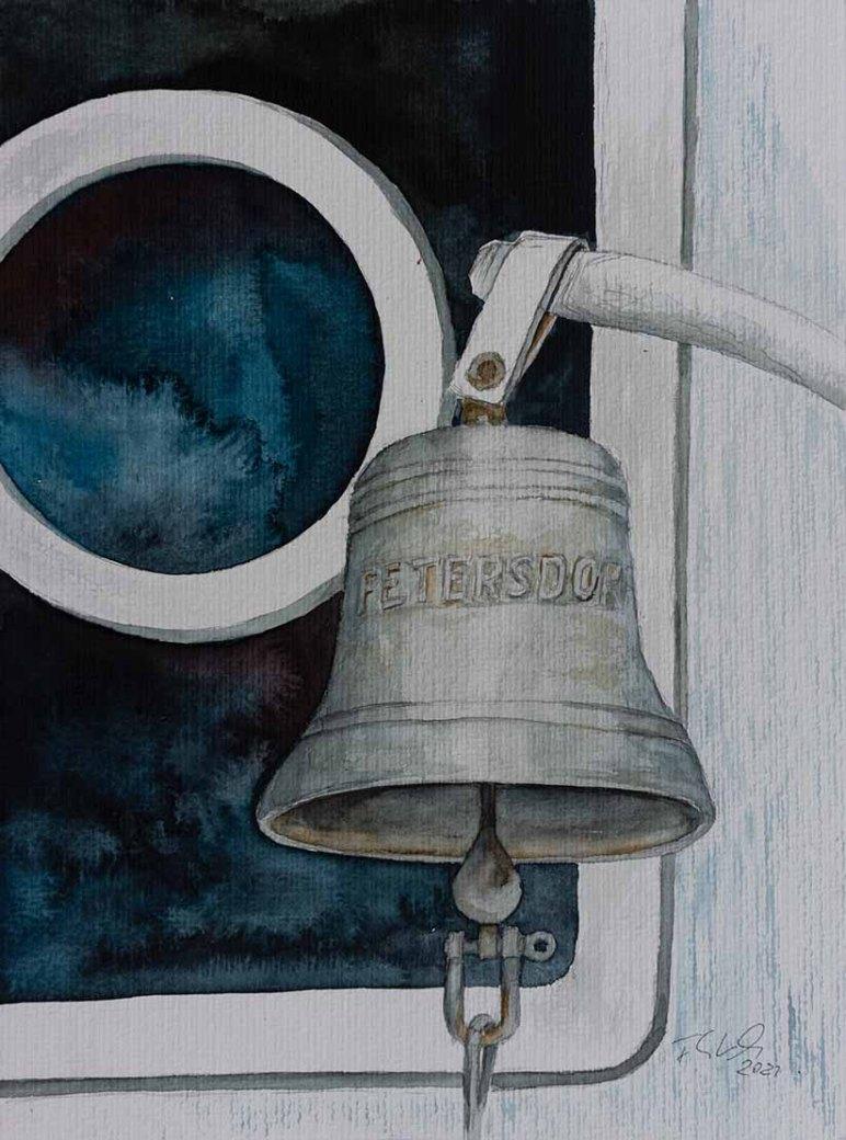 Schiffsglocke des Schleppers Petersdorf (c) Aquarell von Frank Koebsch
