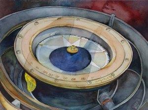 Wegweisend © ein Aquarell mit einem Kreiselkompass von Frank Koebsch