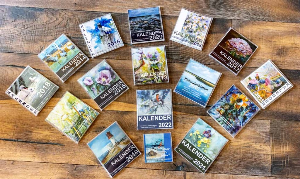 Die Kalender 2007 bis 2022 mit Aquarellen von Hanka & Frank Koebsch