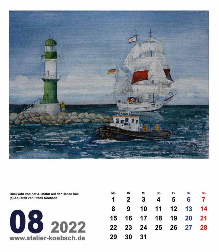 Kalender 2022 mit Aquarellen von Hanka & Frank Koebsch - Kalenderblatt August