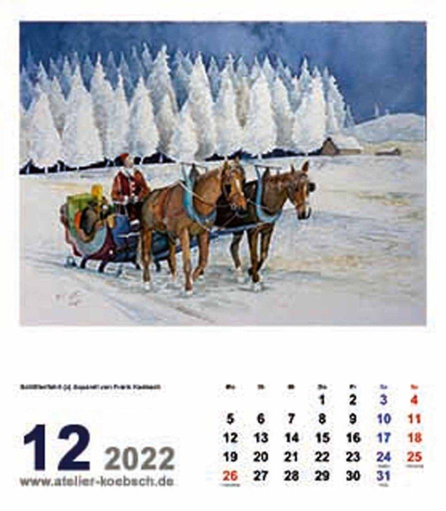 Kalender 2022 mit Aquarellen von Hanka & Frank Koebsch - Kalenderblatt Dezember