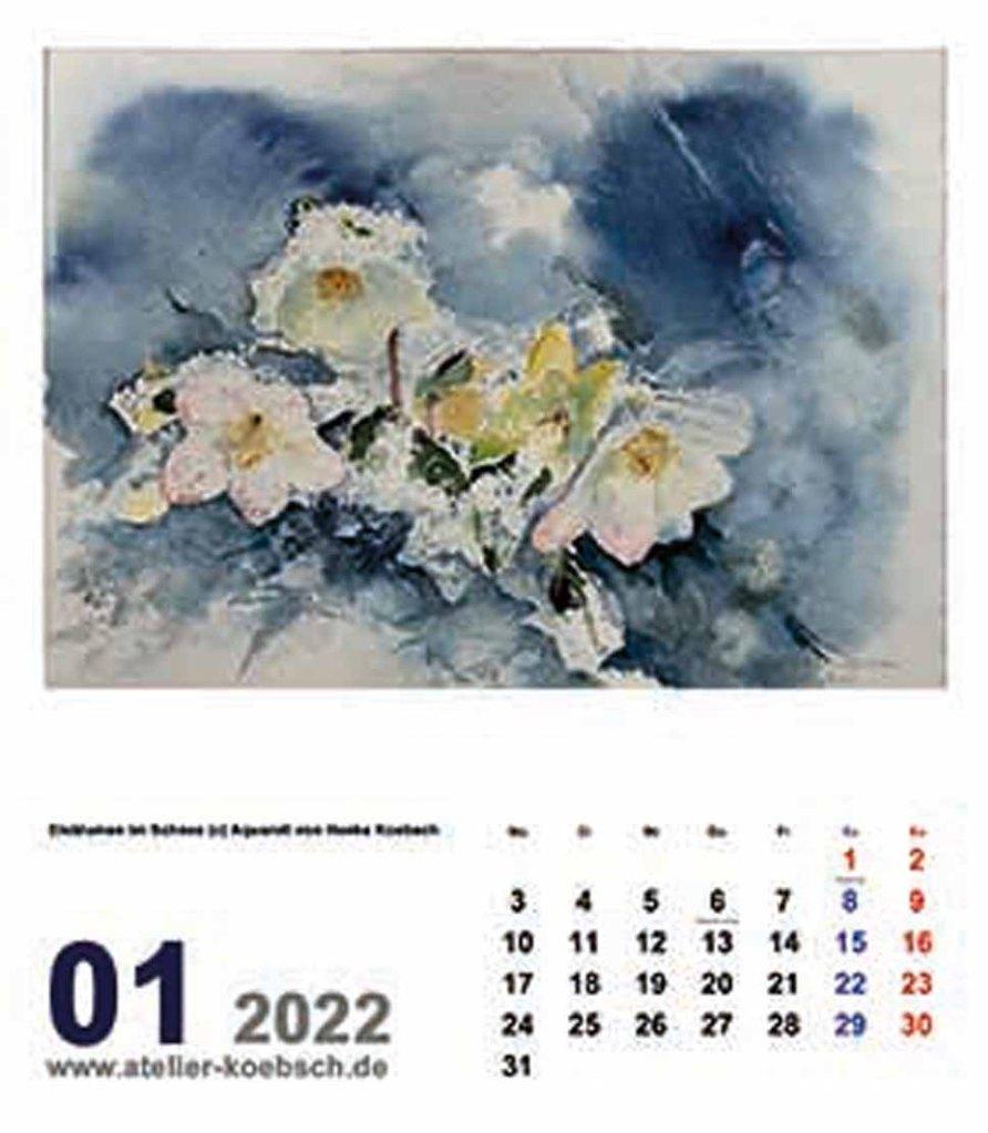 Kalender 2022 mit Aquarellen von Hanka & Frank Koebsch - Kalenderblatt Januar
