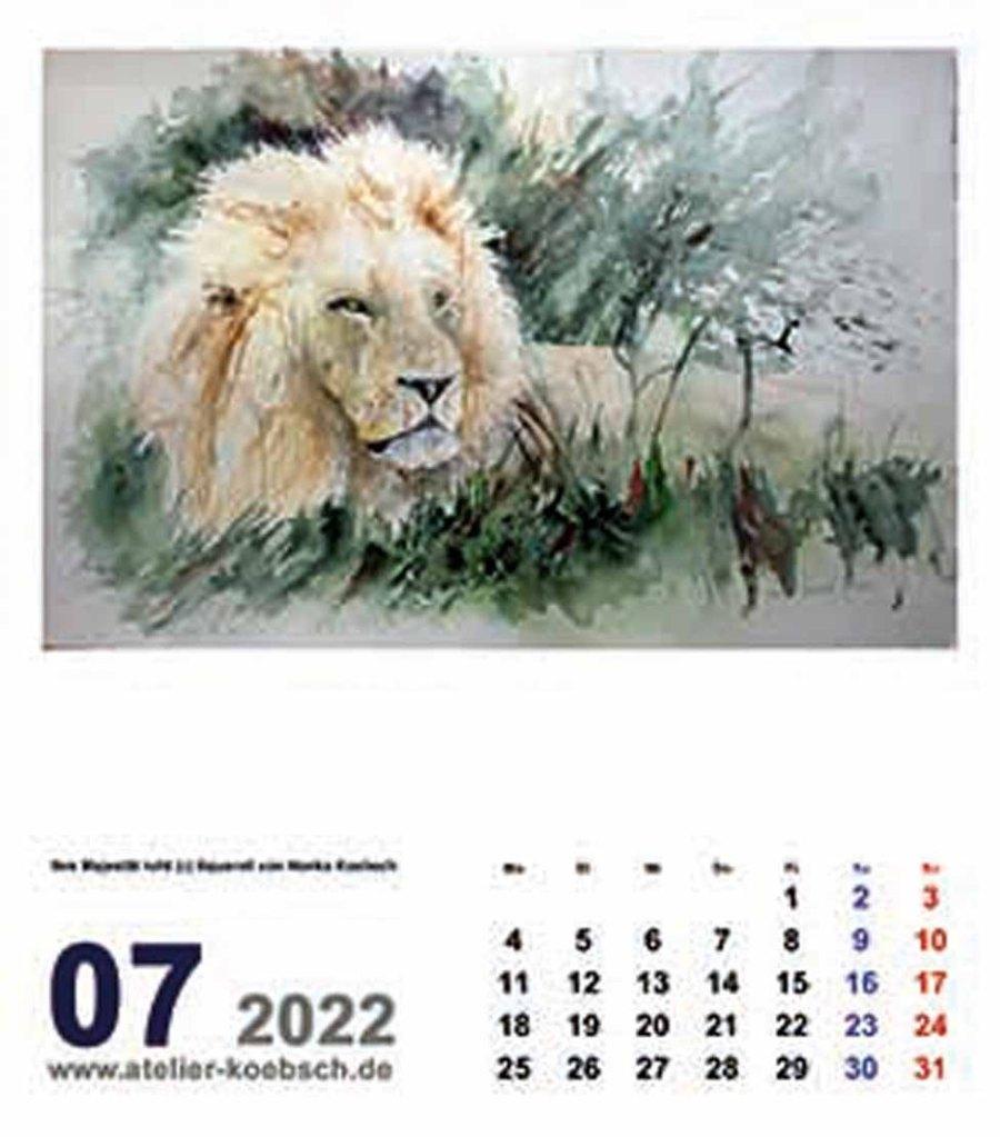 Kalender 2022 mit Aquarellen von Hanka & Frank Koebsch - Kalenderblatt Juli