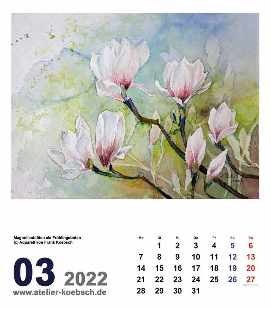 Kalender 2022 mit Aquarellen von Hanka & Frank Koebsch - Kalenderblatt März
