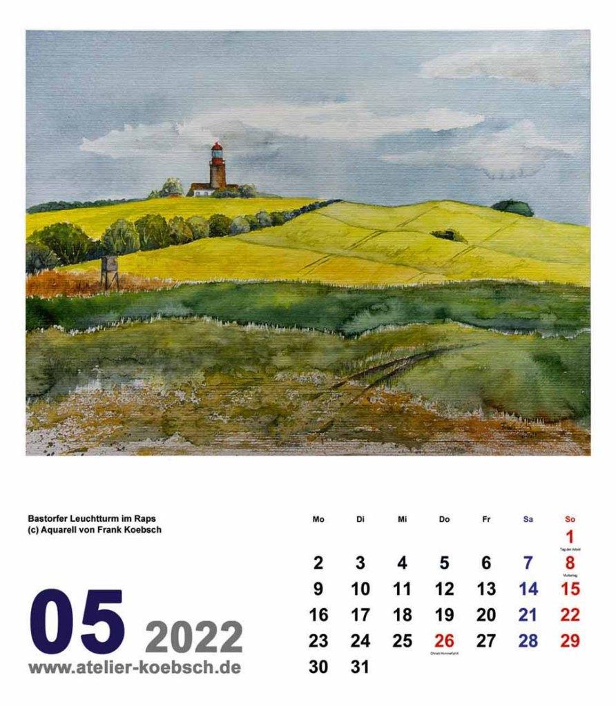 Kalender 2022 mit Aquarellen von Hanka & Frank Koebsch - Kalenderblatt Mai