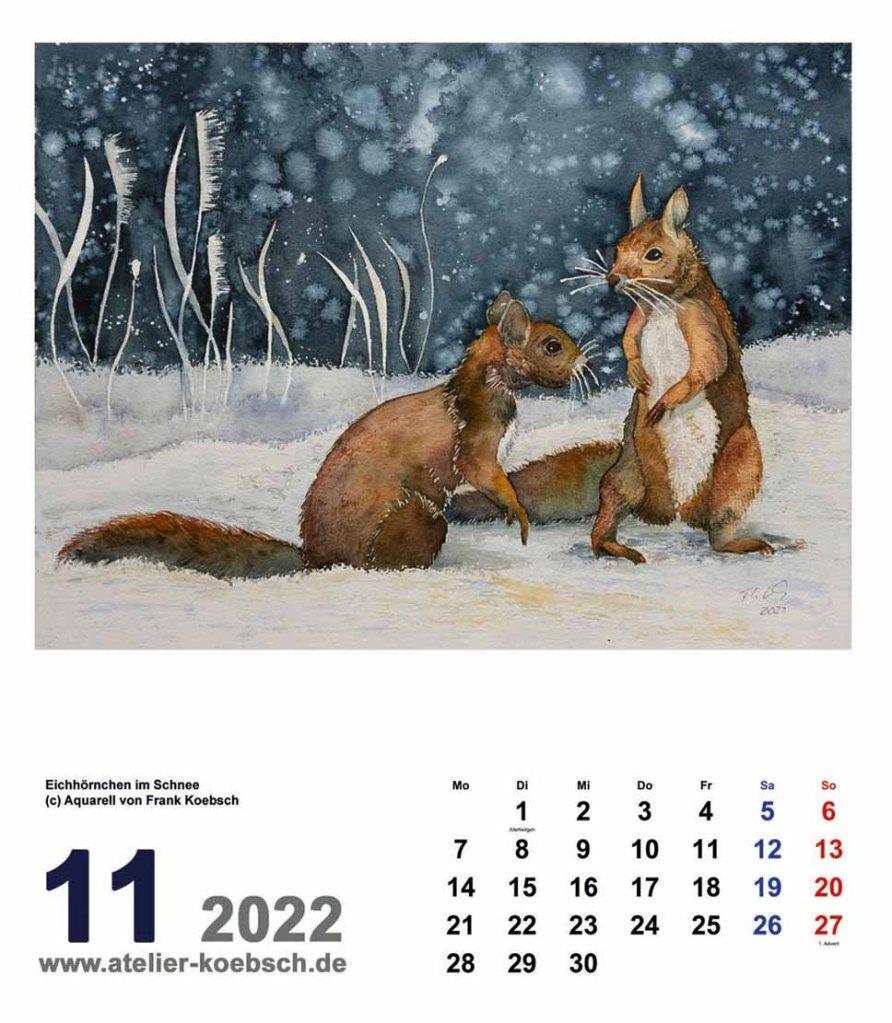 Kalender 2022 mit Aquarellen von Hanka & Frank Koebsch - Kalenderblatt November