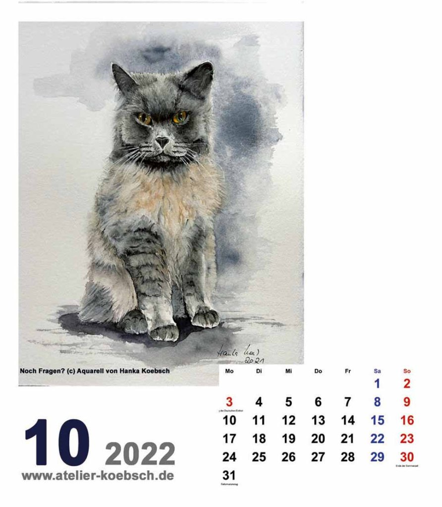 Kalender 2022 mit Aquarellen von Hanka & Frank Koebsch - Kalenderblatt Oktober