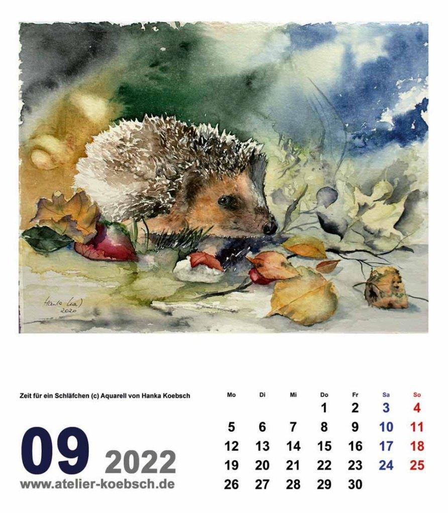 Kalender 2022 mit Aquarellen von Hanka & Frank Koebsch - Kalenderblatt September