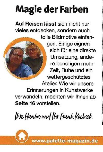 Magie der Farben - Hanka & Frank Koebsch im Palette Magazin 2021 - 4 - Ankündigung