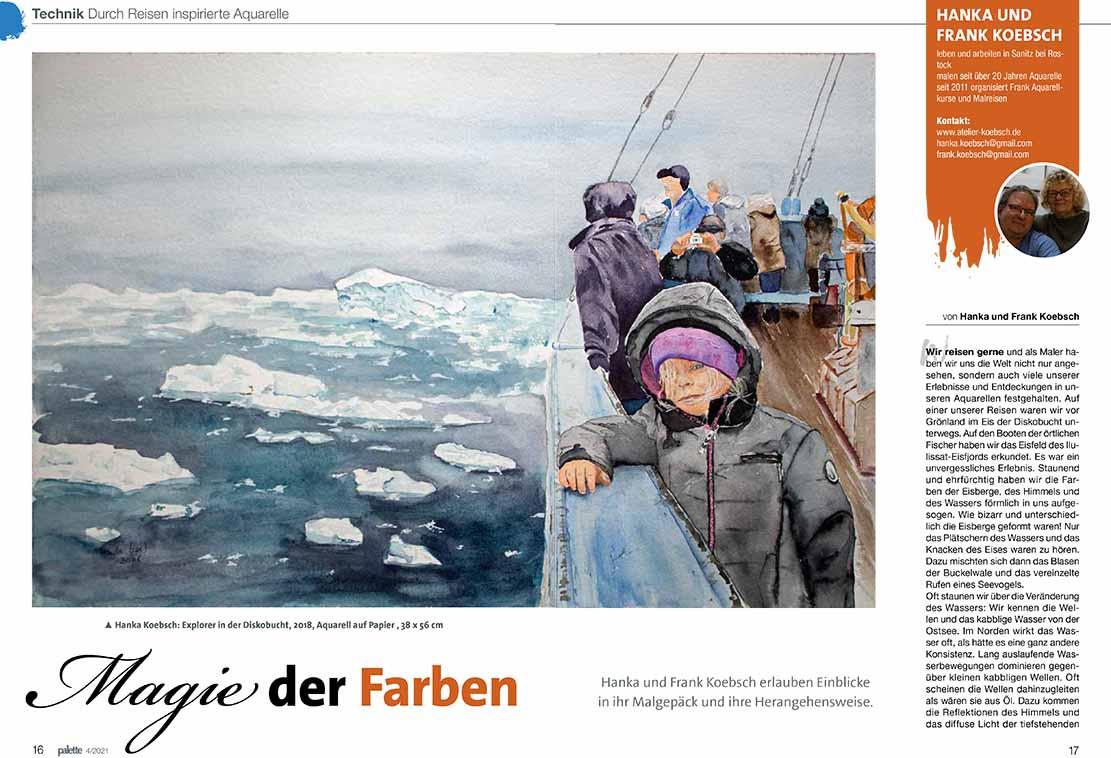 Magie der Farben - Hanka & Frank Koebsch im Palette Magazin 2021 - 4, Seite 16 u 17