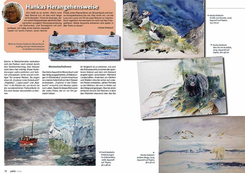 Magie der Farben - Hanka & Frank Koebsch im Palette Magazin 2021 - 4, Seite 18 u 19