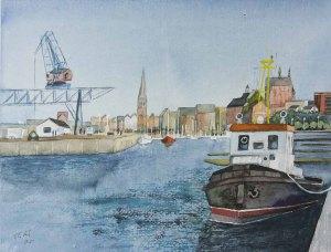 Rostocker Stadthafen mit dem Schlepper Petersdorf (c) Aquarell von Frank Koebsch