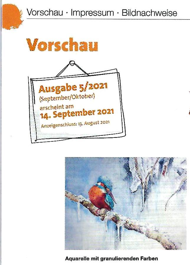Vorschau auf das Palette Magazin 2021 - 5, Aquarelle mit granulierenden Farben von Hanka & Frank Koebsch
