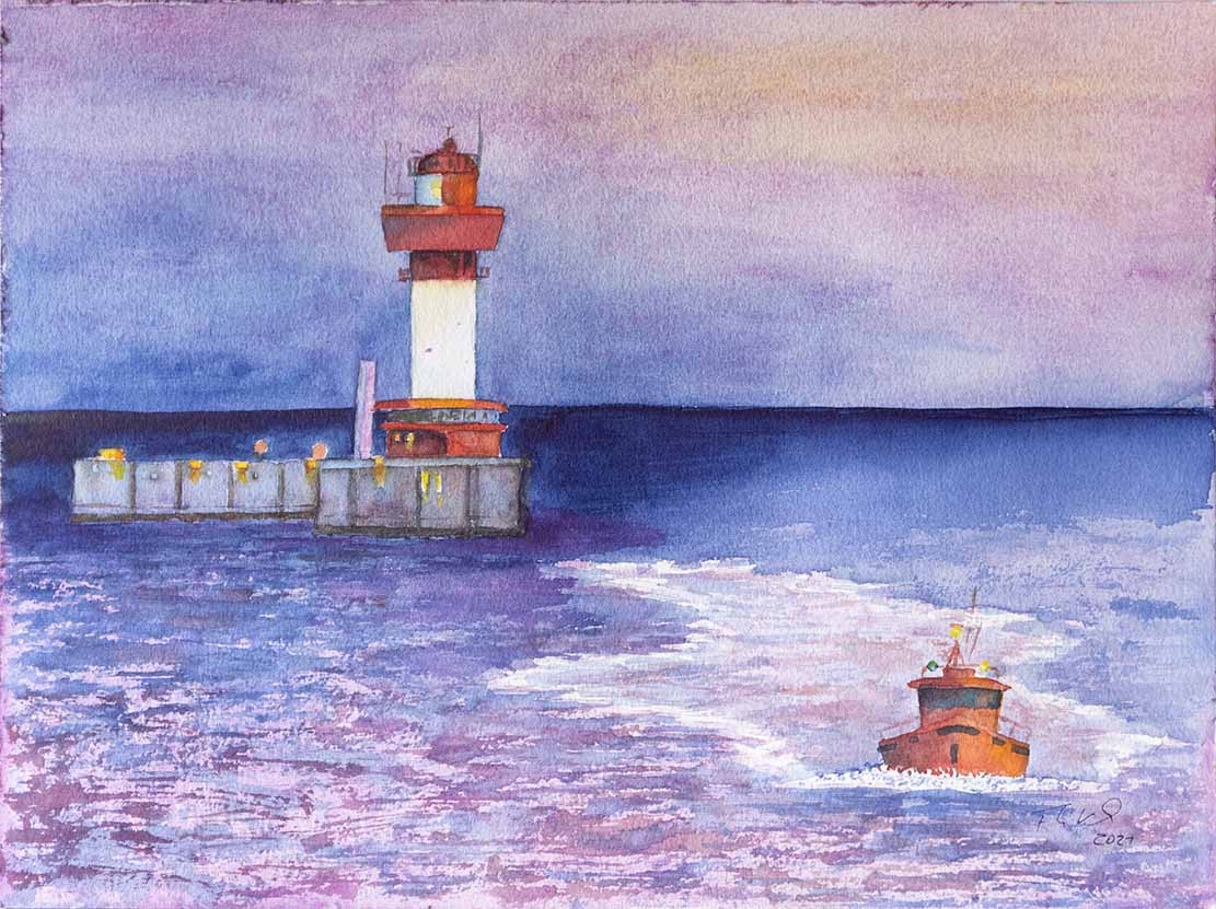 Blaue Stunde morgens am Leuchtturm KIel (c) Aquarell von Frank Koebsch