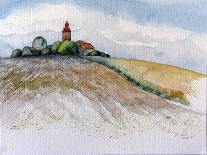 Spätsommer am Leuchtturm Bastorf (c) Aquarell von Frank Koebsch