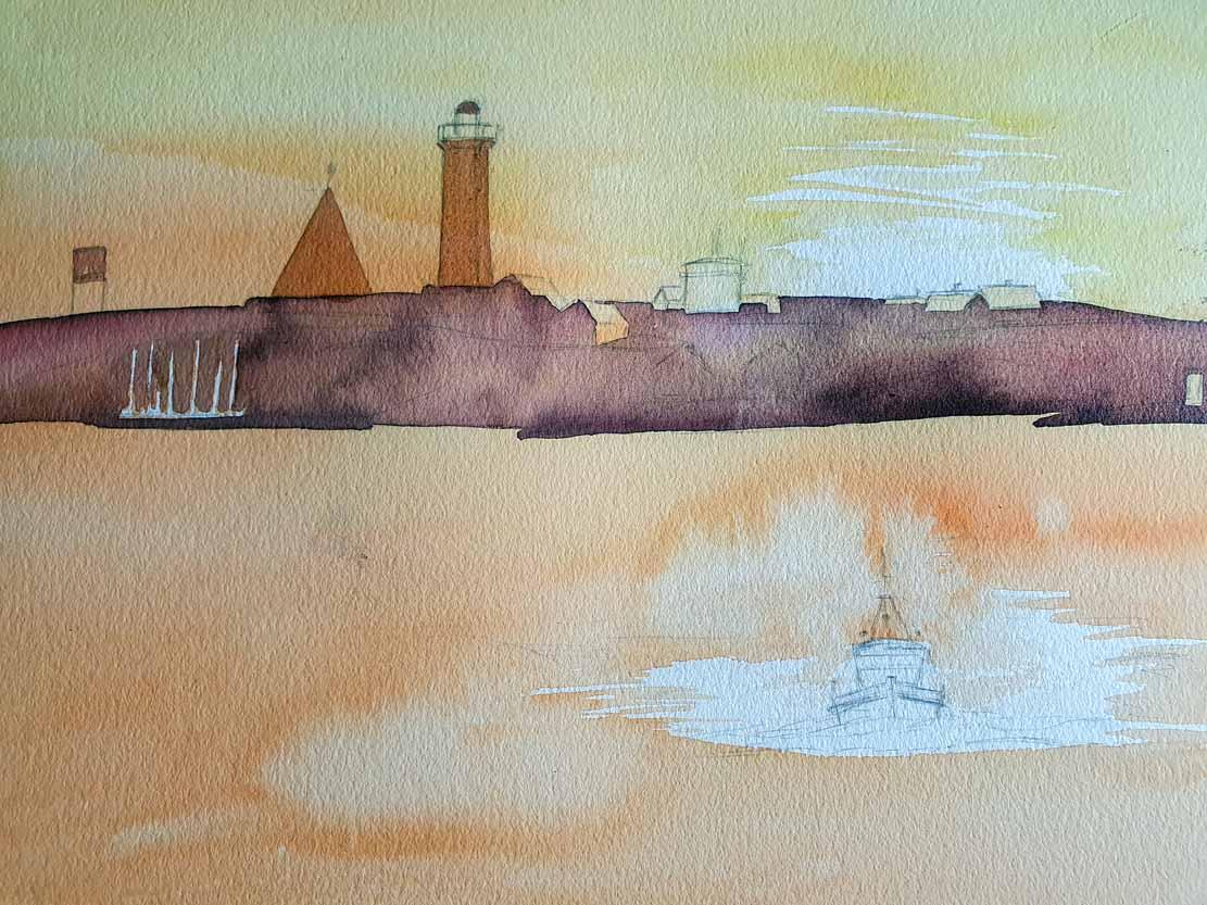 Erste Lasur für den Leuchtturm und die Pyramide auf dem Aquarell -Lotsenboot beim Sonnenuntergang am Vinga Fyr (c) Frank Koebsch (1)
