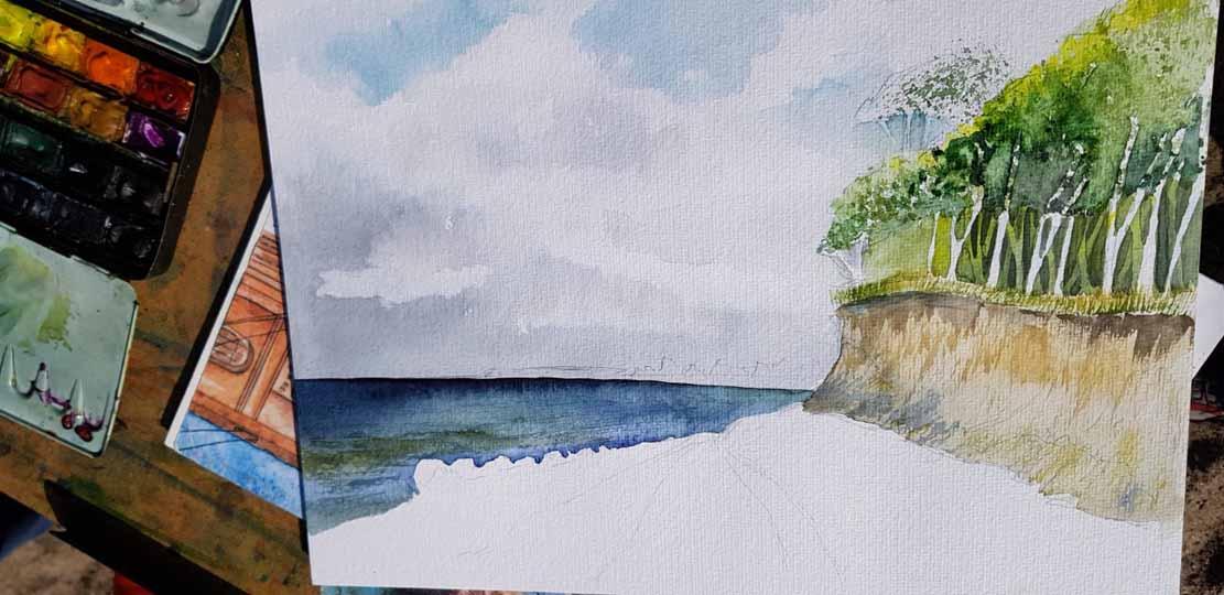 Frank Koebsch malt an der Steilküste von Heiligendamm (c) Alina Unland (2)