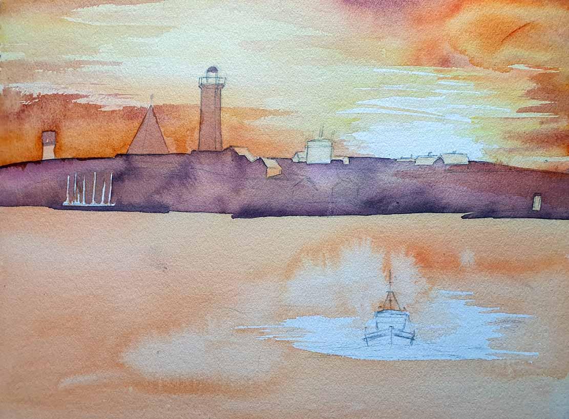 Gestaltung des Himmels auf dem Aquarell -Lotsenboot beim Sonnenuntergang am Vinga Fyr (c) Frank Koebsch
