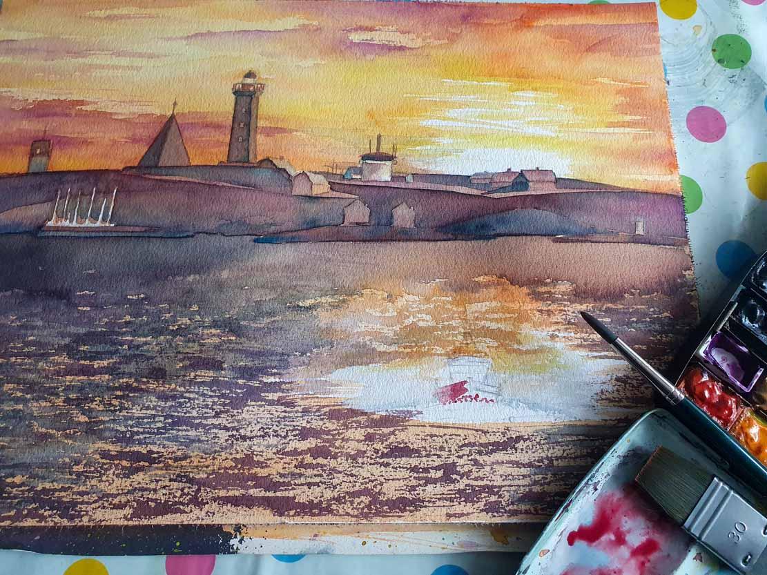 Granulieren für die Wellen auf dem Aquarell -Lotsenboot beim Sonnenuntergang am Vinga Fyr (c) Frank Koebsch