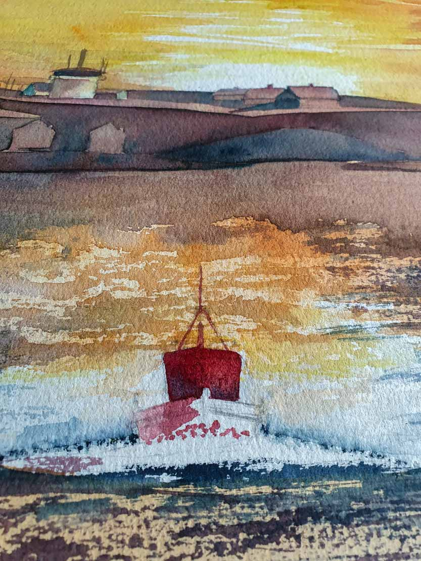 Herausarbeiten des Bootes auf dem Aquarell -Lotsenboot beim Sonnenuntergang am Vinga Fyr (c) Frank Koebsch