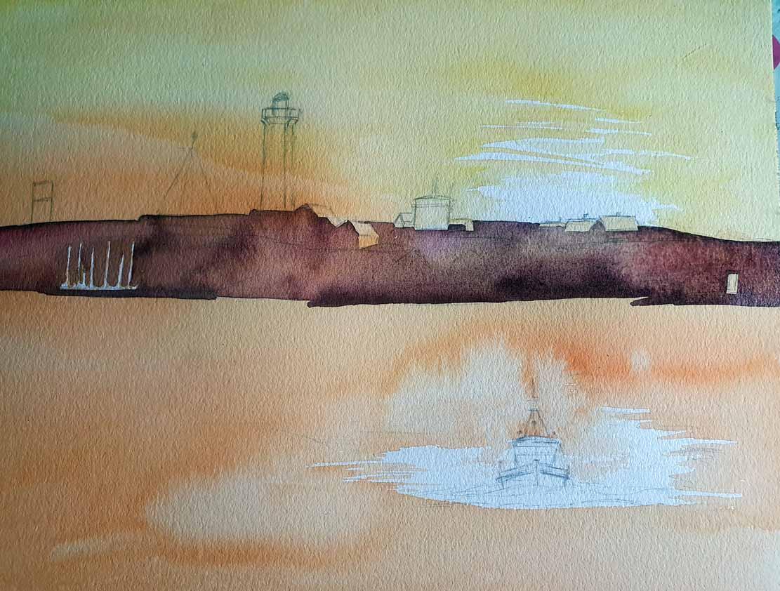 Lasur für die Insel auf dem Aquarell -Lotsenboot beim Sonnenuntergang am Vinga Fyr (c) Frank Koebsch (1)