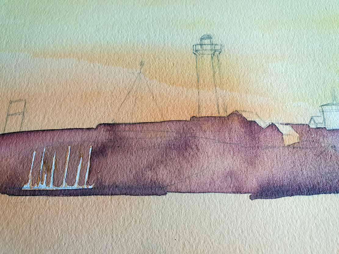 Lasur für die Insel auf dem Aquarell -Lotsenboot beim Sonnenuntergang am Vinga Fyr (c) Frank Koebsch (2)