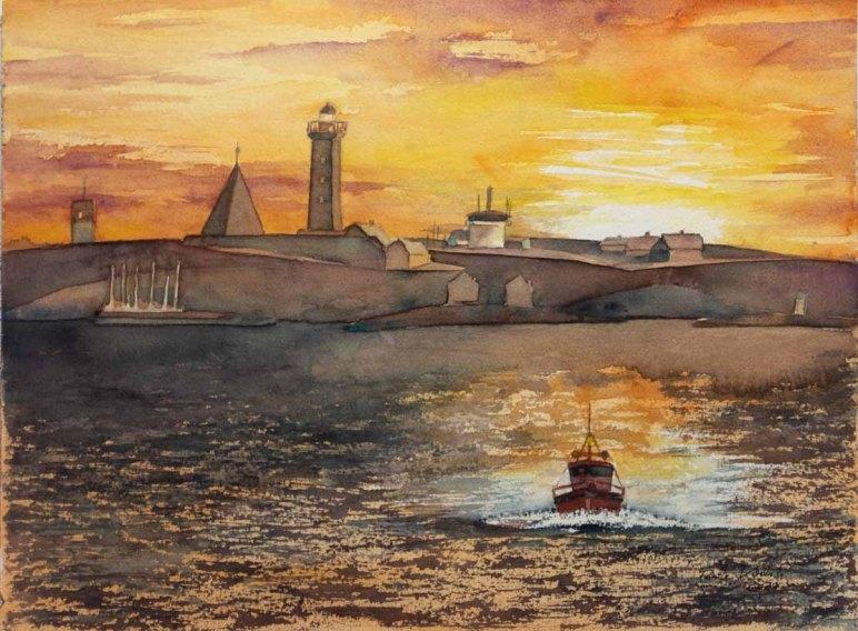 Lotsenboot beim Sonnenuntergang am Vinga Fyr © Aquarell von Frank Koebsch
