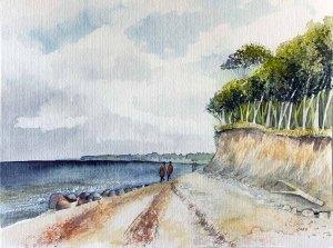Spätsommer an der Steilküste von Heiligendamm (c) Aquarell von Frank Koebsch