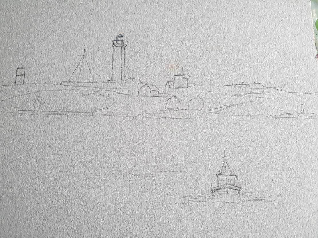 Vorzeichnung für das Aquarell - Lotsenboot beim Sonnenuntergang am Vinga Fyr (c) Frank Koebsch