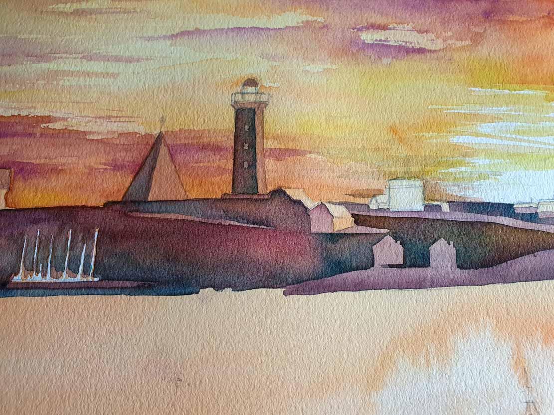 Weitere Lasuren im Himmel und auf der Insel auf dem Aquarell -Lotsenboot beim Sonnenuntergang am Vinga Fyr (c) Frank Koebsch (1)